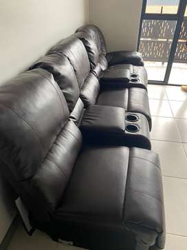 Brown Leather Sofa 2 years in use..the recline in a good condition