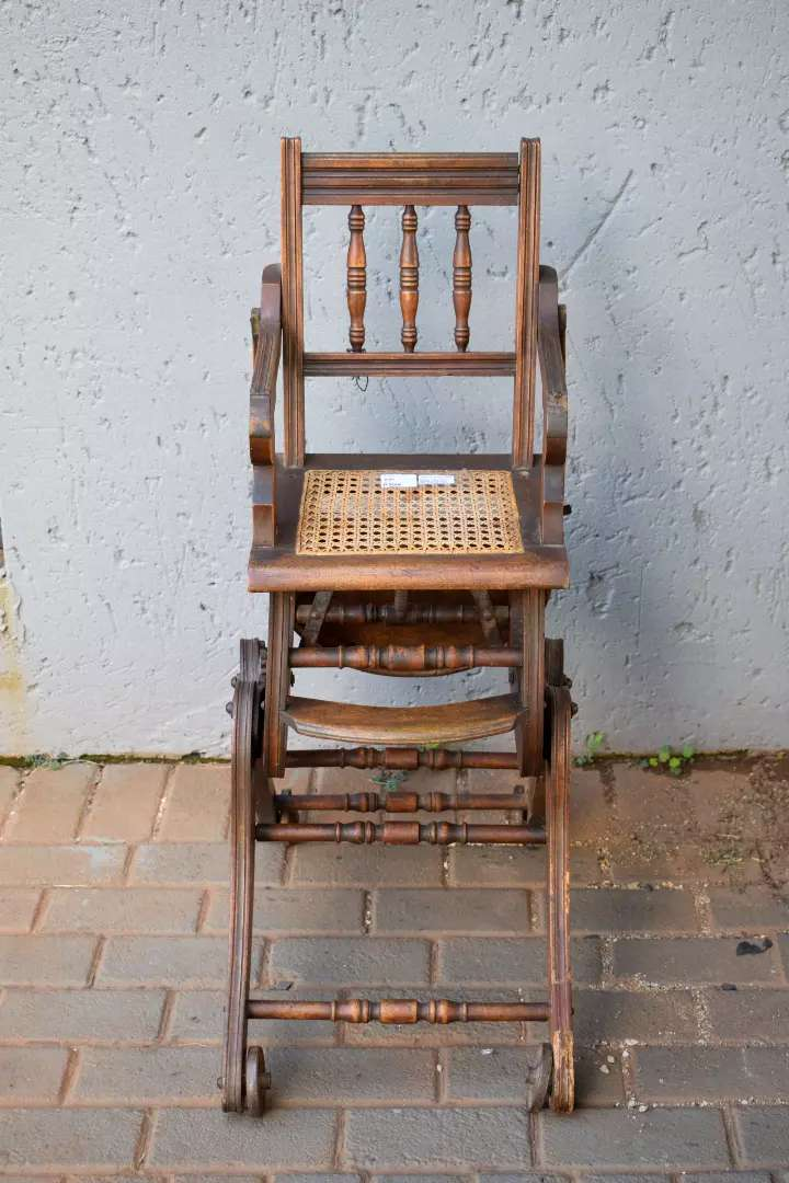 Victorian Wooden Baby's Caned Feeding Chair