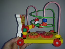 Деревянная игра каталка часы лабиринт логика