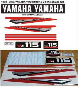 Yamaha V4 115 outboard motor decals stickers vinyl cut graphics kits