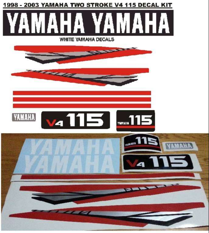 Yamaha V4 115 outboard motor decals stickers vinyl cut graphics kits 0