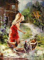 Kurki - Obraz olejny 30x40cm dziewczynka