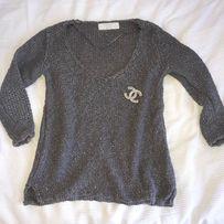 Zara gruby sweter blogerek srebrna nitka szary hm Okazja