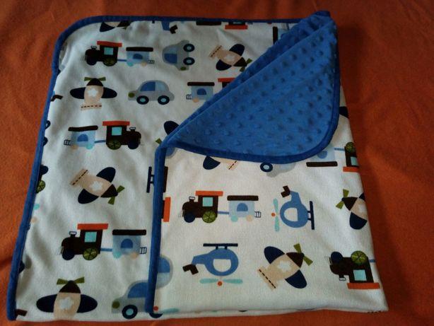 Kocyk dwustronny Baby Ono bąbelki niebieski różne pojazdy Kielce - image 1