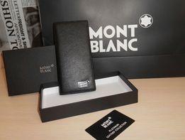 Duży oryginalny czarny PORTFEL MĘSKI Mont Blanc, skóra, Niemcy 55-63