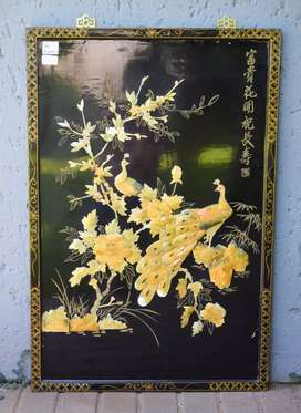 CHINESE LACQUERED MOTHER OF PEARL PANEL