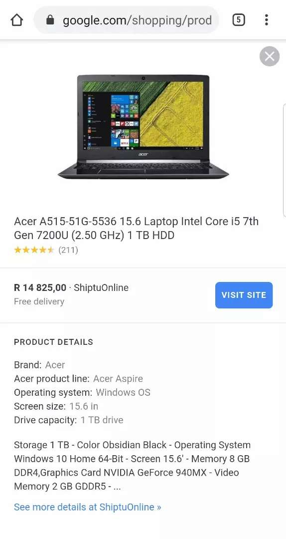 NEW ACER ASPIRE 5 INTEL CORE I5 7TH GENERATION  GAMING MACHINE 0
