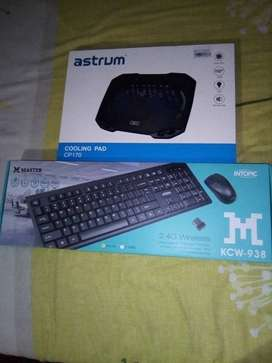 Intopic master  wireless keyboard & mouse combo plus Asrum coolingpad