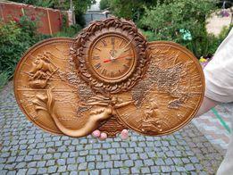 Настенные Деревянные резные часы Русалка с картой, картины