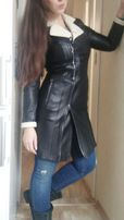 Кожаное пальто, кожаный плащ, S размер