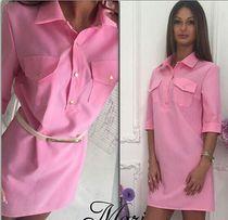 Стильное платье-рубашка (туника, блуза) в цвете розовый коралл! Италия