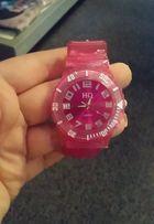 Nowy różowy zegarek damski młodzieżowy silikonowy pasek na prezent