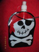 детская фляга игрушка череп скелет на метал карабине для воды легкая