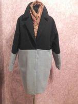 Пальто зимнее, осеннее , серо-чёрное, кашемир, размер М, Л(L) overseas
