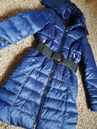 SZAFIROWY ciepły płaszcz puchowy pikowany NOWY kobalt S M