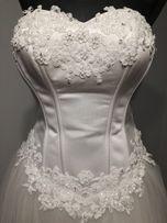 Suknia ślubna biała księżniczka princeska 36/38 tjul do kościelnego we