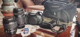 Canon 600d with lens, bag, memory card and extra battery