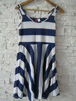sukienka H & M marynarska w paski gratanowe rozm S / M (Zara Mohito)
