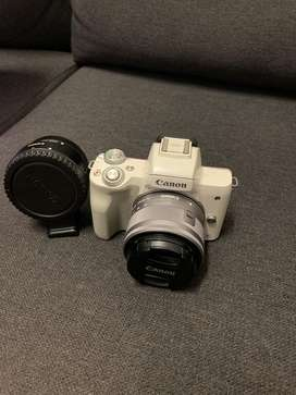 Canon M50 with adaptor and kit lens