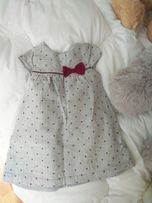 Sukienka szara w kropki z kokarda rozmiar 80