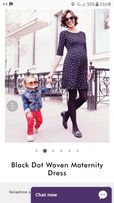 Séraphine Black Dot Woven Maternity Dress r.40 ciążowa nowa 300 zł