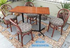 Brown table and chairs set
