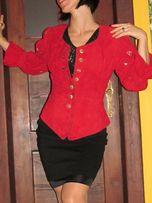 unikatowy skórzany żakiet zamszowy czerwony Alba Mode