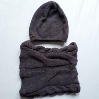 Pamami komplet zimowy damska czapka i komin kolor granatowy melanż