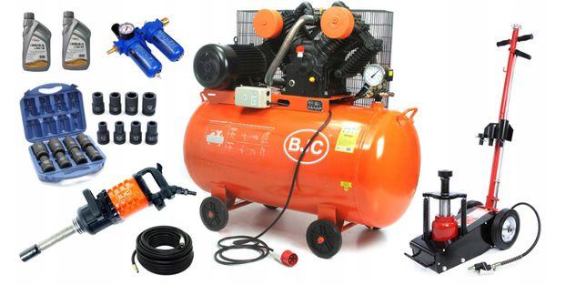 Kompresor OLEJOWY 350L 1450 L/m BJC + MEGA ZESTAW 8w1 Gnojno - image 1