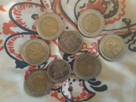 R5 and R2 ( five rand and two rand coins)