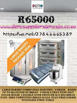 Large Bakery Combo Deals, 3 Deck 9 Tray Baking Oven, Proover, Mixer,