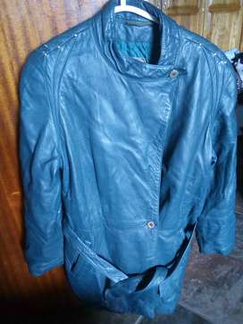 Ladies Green Leather Jacket size 44 secondhand