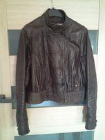 Коричневая кожаная курточка женская Topshop