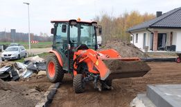 Niwelacja terenu, plantowanie, przygotowanie terenów, glebogryzarka