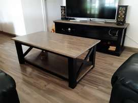 Solid wood tv stand and matching coffee table