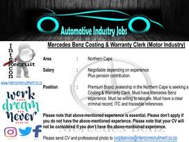 Mercedes Benz Costing & Warranty Clerk (Motor Industry) Northern Cape