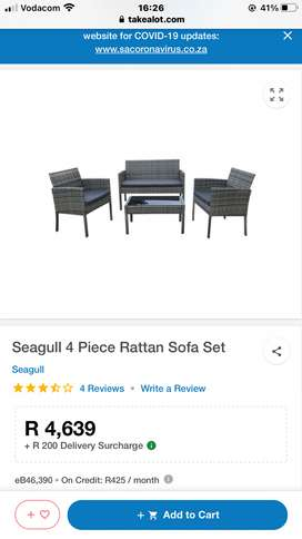 Couch/ Sofa Rattan set with Coffee Table BRAND NEW