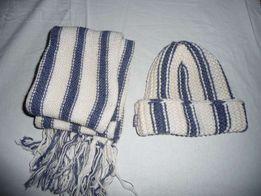 Набор шапка и шарф бело-молочно-голубые