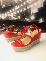 Czerwone Sandały koturny espadryle rozmiar 38