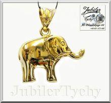 Złoty słonik duży wisiorek dwustronny słoń złoto Au 585 Jubiler Tychy