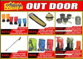 Outdoor Camping Hiking Gaitors, Sleeping Bags, Cooking Pots, Hiking Tr