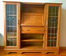 Solid oak ladies desk, stained glass