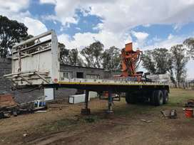 Flatbed with crane