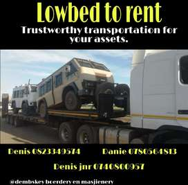 Lowbed to rent/Lowbed te huur