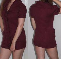 NOWY burgundowy sweter długi kardigan bordowy fioletowy wełniany 34 36