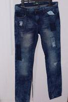 Spodnie jeans rurki z dziurami naszywki 38 rozmiar