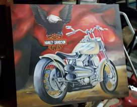 Large painting on canvas of Harley Davidson