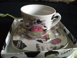 Подарочный набор: чашка с блюдцем. НОВЫЙ