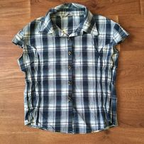 Рубашка синяя в клетку Fruceling с вышивкой на спине на пуговицах
