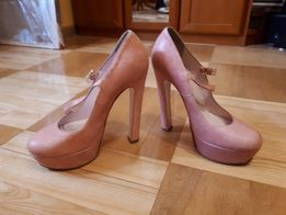 Pantofle damskie, skóra naturalna, pudrowy róż, roz. 38, Vero Cuoio